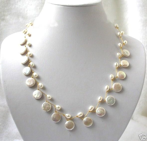 17'' handmade 12mm white coin pearls necklace 14k yellow gold pl
