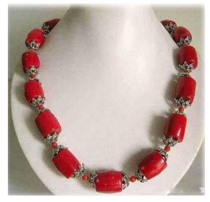 18'' red coral barrel shape necklace
