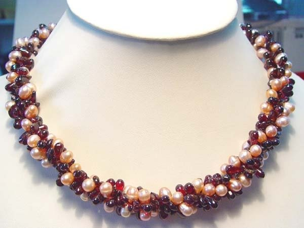 "17"" 3 rows pearl garnet stone necklace"