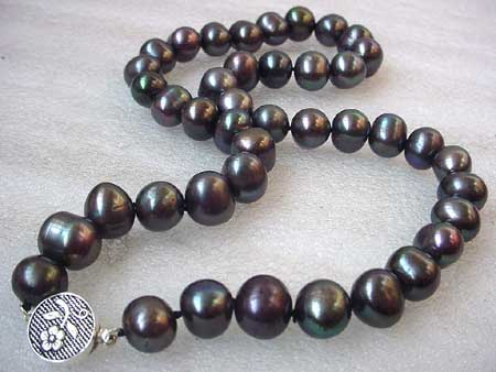 17.5'' 11-12MM BLACK FRESHWATER PEARL NECKLACE S925