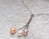 Tri-color pearl chain dangle pendant necklace