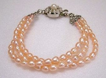 beautiful 3rows 7.5'' pink Cultured Pearl Bracelet