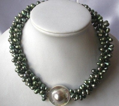"17.5""3-rows dark green pearl/mabe clasp necklace"