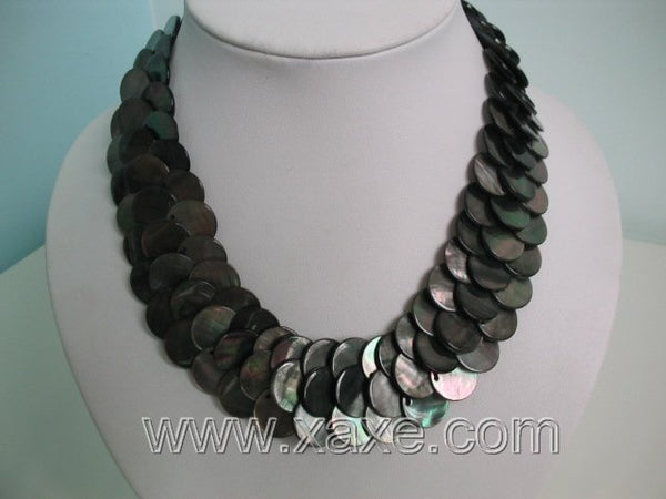 Necklace Peacock Abalone Shell Thin Slice Knit