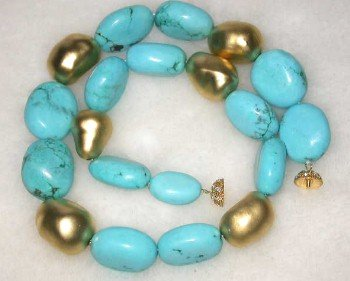 "18"" 15*25mm turquoise-gild beads necklace"