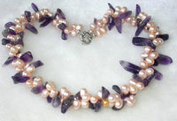Graceful! 16.5'' pink pearl nature amethyst necklace