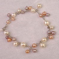 "7"" 7-8mm multi-color pearl bracelet sterling silver chain"