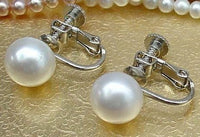 Clip on white freshwater pearl earrings