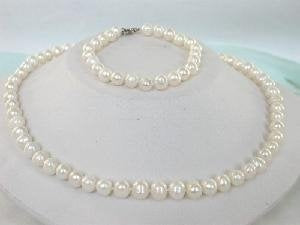 "16"" 7-8mm white cultured freshwater pearl necklace & bracelet"