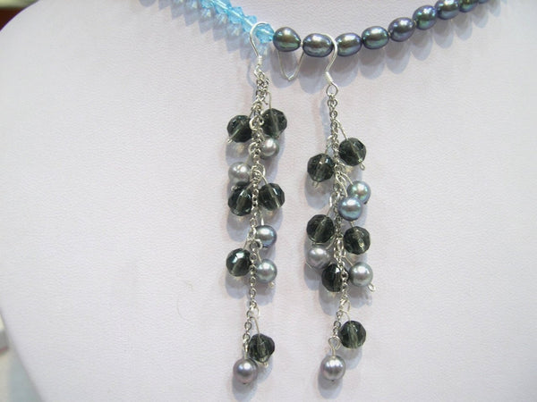 Beautiful silver Cultured PEARL & crystal Earring 925s