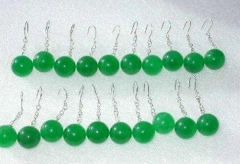 Wholesale 10 pairs AAA12mm green jade-S925 earrings
