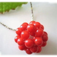 16'' red coral bead kint ball necklace silver chain