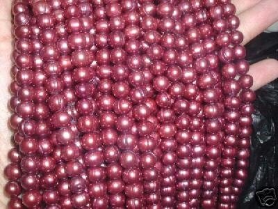 A++ 10 strand 7-8 mm potato freshwater pearl-wine red
