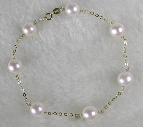 AA 8mm Round White Freshwater Pearl Solid 18K Gold Bracelet