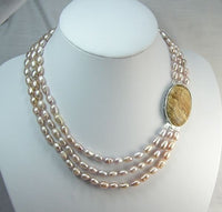 16''-19'' 3rows pink Cultured Pearl Necklace gem clasp [PN1086]