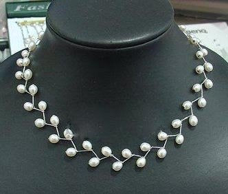 Floral white rice pearl necklace
