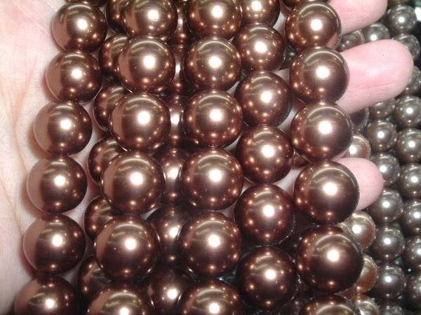 A++ 5 strand 12 mm brown south seashell pearl