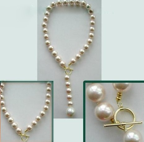 Pale pink sea shell pearl necklace