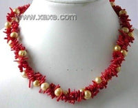 "17"" 3-row red branch coral pearl necklace"
