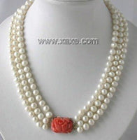 "17""-19"" 3-rows 7-8mm white pearl coral clasp necklace"