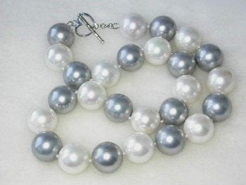"17"" 16mm white gray shell pearl-silver clasp"