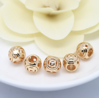 10 pcs 24k gold plated big hole size hollow brass spacer beads  brass caps brass connector