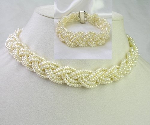"17"" 4 rows white pearl necklace bracelet set"