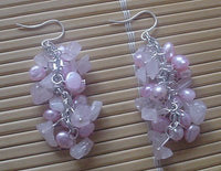pink FW pearl & rose quartz necklace bracelet earring set