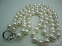 17-18'' 2 strands 12mm white seashell pearl necklace