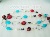 "36"" turquoise and coral bead necklace with alloy hoop"