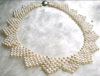"16"" unique handmade 4-5mm white pearl necklace"