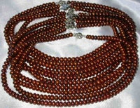 "Wholesale 5 pcs 16"" 6-7mm coffee pearl necklace"