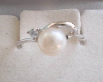 Pearl ring on silver holder - PR1080