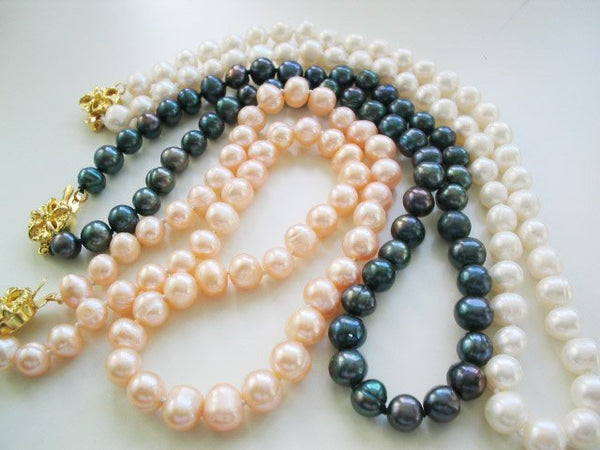 Wholesale 3 pieces 17'' 7-8mm white pink black pearl necklace