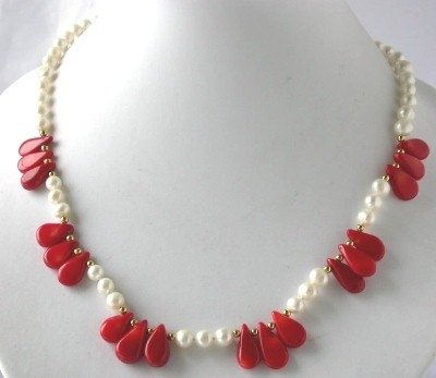 "18"" white FW pearl red seed coral necklace"