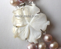 "18""-20"" 3-stands Grade A lavender pearl&shell clasp"