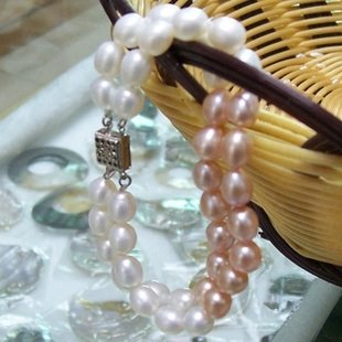 "7"" 7-8mm 2 rows rice shape pearl bracelet"