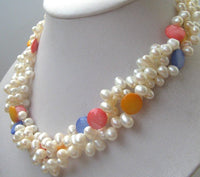 3strand white color freshwater pearl mix shell necklace