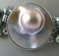 "20"" 3-rows green pearl mabe clasp necklace"