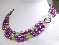 3 strands purple baroque pearl and green crystal necklace