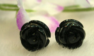Black Agate Carved Rose Stud earrings 925 Silver