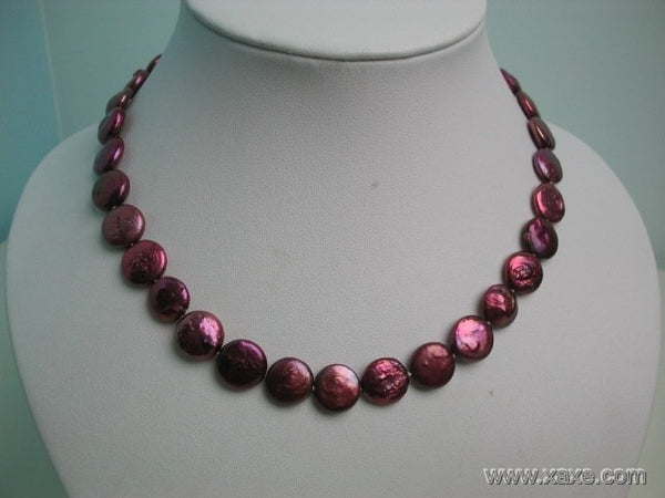 16'' 12mm red pearl button shape necklace