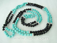 95'' super long turquoise & agate necklace