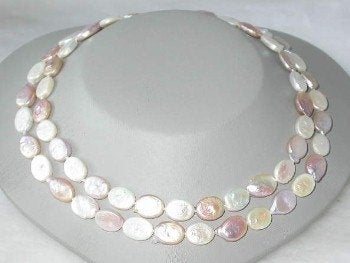 "14K 34"" 10*12mm multicolor biwa pearl necklace"