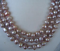"20""-22"" lustrous 3rows purple pearl shell clasp necklace [PN1316]"