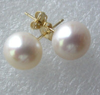 14K stud AA 7MM white round FW pearl earring