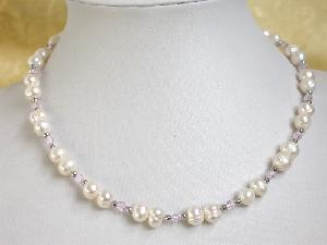 "16"" white freshwater Pearl CRYSTAL GILD bead Necklace"