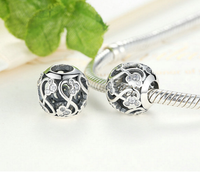 Sterling 925 silver charm hollow Mickey bead pendant fits Pandora charm and European charm bracelet