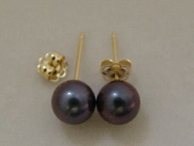 6.5mm PEACOCK BLACK AKOYA PEARL CLASSIC STUD EARRINGS