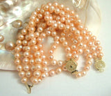 2 strands Real pink freshwater pearls necklace set 9k